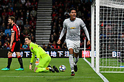 Goal - Chris Smalling (12) of Manchester United celebrates scoring a goal to give a 0-1 lead to the away team during the Premier League match between Bournemouth and Manchester United at the Vitality Stadium, Bournemouth, England on 18 April 2018. Picture by Graham Hunt.