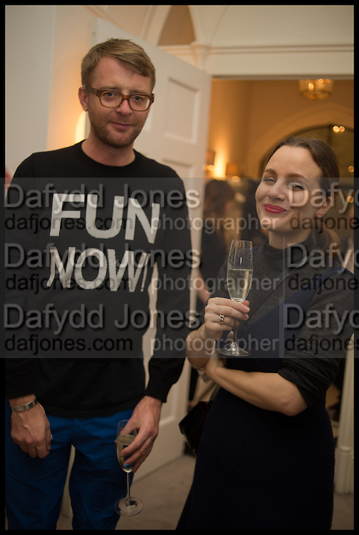 CHARLIE PORTER; VERONICA DITTING, Frieze dinner  hosted at by Valeria Napoleone for  Marvin Gaye Chetwynd, Anne Collier and Studio Voltaire 20th anniversary autumn programme. Kensington. London. 14 October 2014.