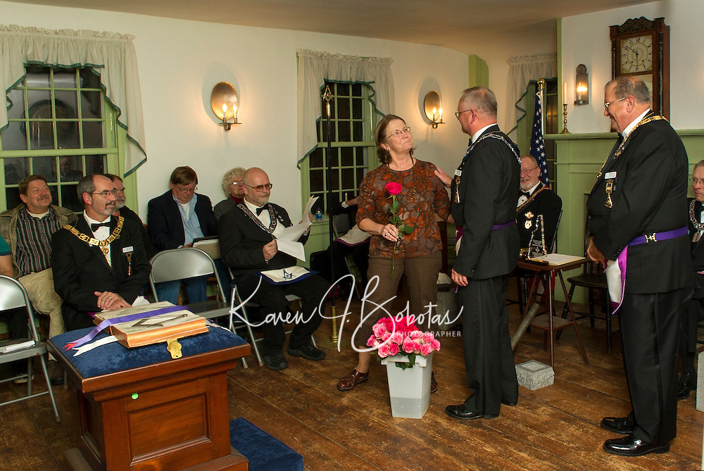 "203rd Anniversary Observance Doric-Centre Lodge at Lane Tavern in Sanbornton Square October 9, 2012.  Centre Lodge was founded in October of 1809 in Sanbornton Square and met there until 1840.  Mildred ""Milly"" Shaw was presented with the Community Builder Award."