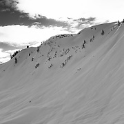 Skiers regroup after skiing a steep line the backcountry near Mount Baker Ski Area.