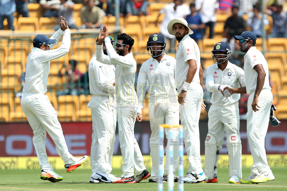 Ravindra Jadeja of India celebrates wicket of Steve Smith captain of Australia during day two of the second test match between India and Australia held at the M Chinnaswamy Stadium in Bangalore on the 5th March 2017. Photo by: Prashant Bhoot / BCCI/ SPORTZPICS