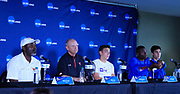 Texas Longhorns coach Edrick Floreal, Texas Tech Red Raiders coach Wes Kittey, LSU Tigers pole vaulter Mondo Duplantis (Armand Duplantis), Florida Gators hurdler andlong jumper Grant Holloway and Kansas Jayhawks middle distance runner Bryce Hoppel during a press conference prior to the NCAA Track & Field Championships, Tuesday, June 4, 2019, in Austin, Tex. (Walt Middleton/Image of  Sport)