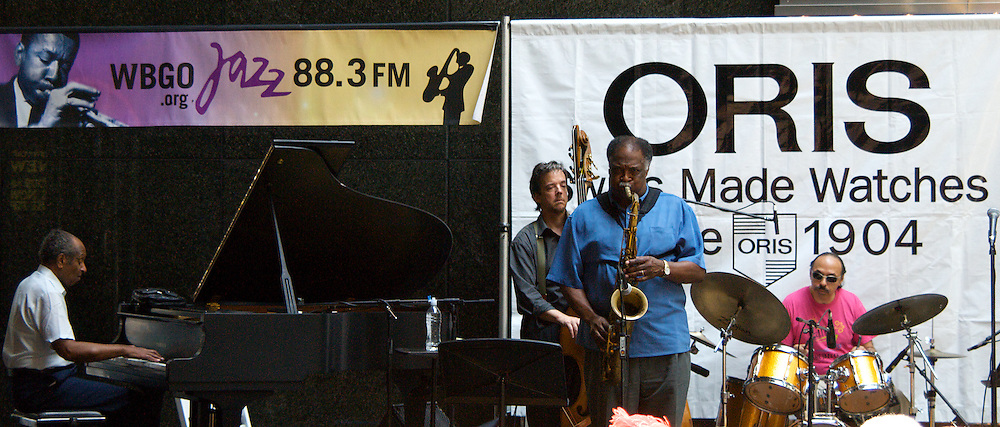 Legendary saxophonist Houston Person performs at the Oris Watches/WBGO summer series of Jazz at Noon in Midtown Manhattan.