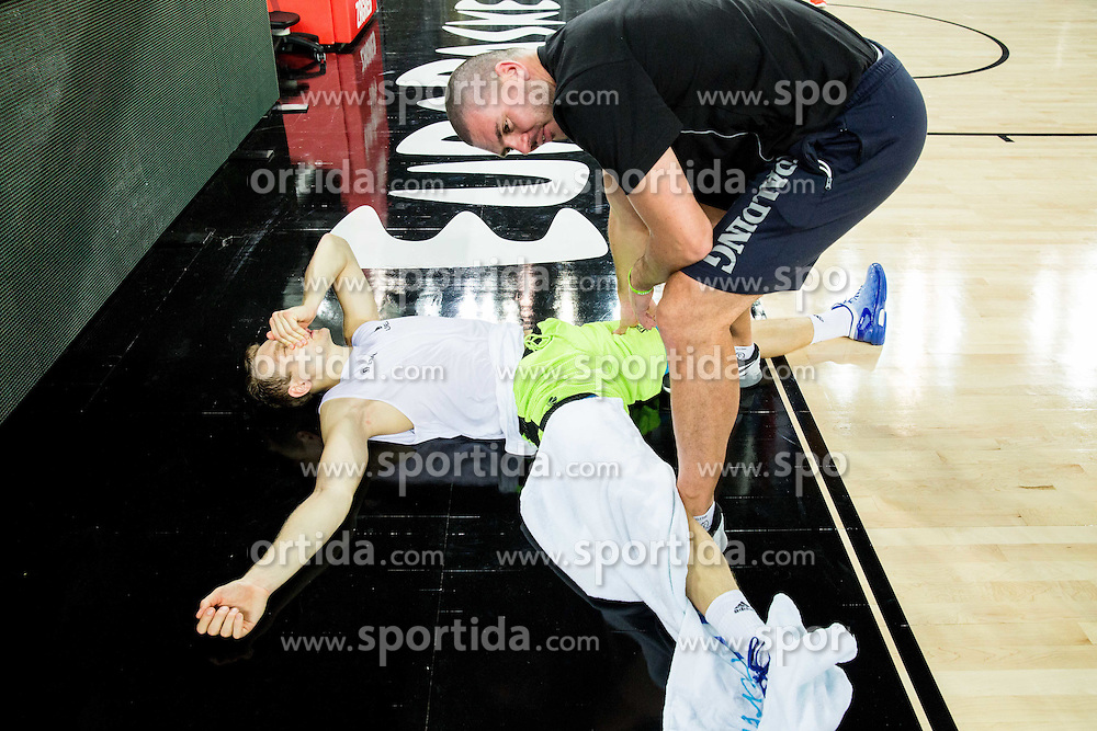 Jaka Blazic and Martin Klesnik during practice session of Slovenia National Basketball Team 1 day prior to the FIBA Europe Eurobasket 2015, on September 4, 2015, in Arena Zagreb, Croatia. Photo by Vid Ponikvar / Sportida