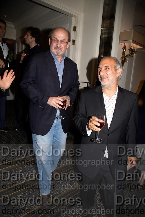 SALMAN RUSHDIE; ALAN YENTOB, Frank Gehry Serpentine Pavilion opening event: Berkeley Hotel. London. 18 July 2008 *** Local Caption *** -DO NOT ARCHIVE-© Copyright Photograph by Dafydd Jones. 248 Clapham Rd. London SW9 0PZ. Tel 0207 820 0771. www.dafjones.com.