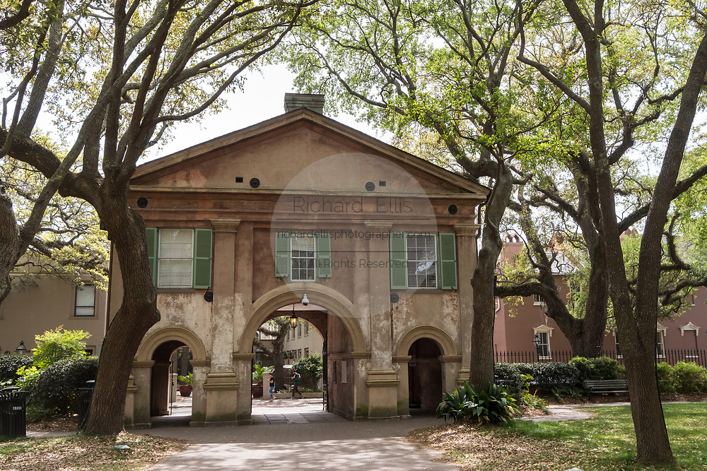 Porters Lodge entrance to the Cistern yard at the College of Charleston in Charleston, South Carolina. The college is a public, sea-grant and space-grant university located in historic downtown Charleston, South Carolina. Founded in 1770 and chartered in 1785, the university's name reflects its history as the oldest college in South Carolina and the oldest municipal college in the country.