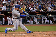 Apr 22, 2017; Phoenix, AZ, USA; Los Angeles Dodgers catcher Austin Barnes (15) doubles to deep right driving in a run during the sixth inning against the Arizona Diamondbacks at Chase Field. Mandatory Credit: Jennifer Stewart-USA TODAY Sports