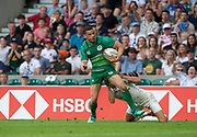 Twickenham, United Kingdom. 3rd June 2018, HSBC London Sevens Series. Game 44 Bronze Medal Game. Ireland vs England. <br /> <br /> Irelands, Jordan CONROY, scoring a try on the wing, during the Rugby 7's, match played at the  RFU Stadium, Twickenham, England, <br /> <br /> © Peter SPURRIER/Alamy Live News
