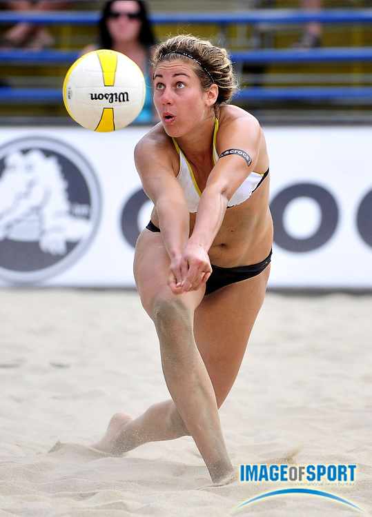 Jul 27, 2008; Long Beach, CA, USA; April Ross digs the ball in the AVP Long Beach Open at Marina Green Park. Mandatory Credit: Kirby Lee/Image of Sport-US PRESSWIRE