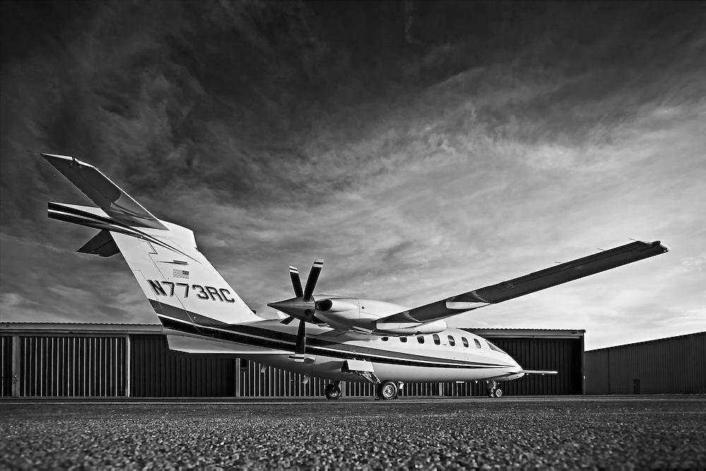 Piaggio P180 Avanti II, photographed on the ramp at Atlanta's Dekalb Peachtree Airport (PDK).