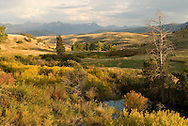 Fleshman Creek with Absaroka Mountains in background, west of Livingston Montana