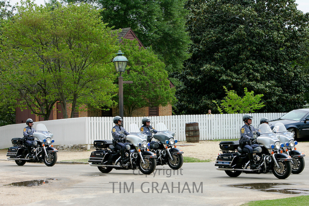 Police motorcycle escort for VIP visitor to The White House, Washington DC, United States of America