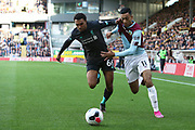 Liverpool defender Trent Alexander-Arnold (66) tangles with Burnley midfielder Dwight McNeil (11)  during the Premier League match between Burnley and Liverpool at Turf Moor, Burnley, England on 31 August 2019.