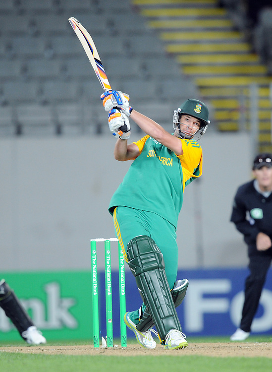 South Africa's Albie Morkel hits a six into the grandstand against New Zealand in the third one day International Cricket match, Eden Park, Auckland, New Zealand, Saturday, March 03, 2012. Credit:SNPA / Ross Setford