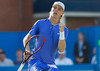 Tennis - 2017 Aegon Championships [Queen's Club Championship] - Day Three, Wednesday<br /> <br /> Men's Singles: Round of 16 _ Tomas Berdych (CZE) Vs Denis Shapovalov (CAN)<br /> <br /> Denis Shapovalov (CAN) celebrates on the centre court at Queens Club<br /> <br /> COLORSPORT/DANIEL BEARHAM