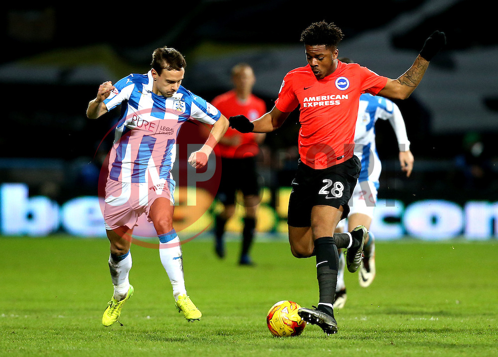 Chuba Akpom of Brighton & Hove Albion takes on Chris Lowe of Huddersfield Town - Mandatory by-line: Robbie Stephenson/JMP - 02/02/2017 - FOOTBALL - John Smith's Stadium - Huddersfield, England - Huddersfield Town v Brighton and Hove Albion - Sky Bet Championship