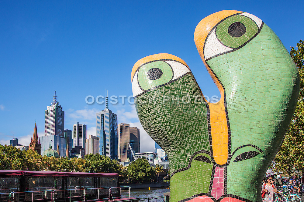 Melbourne Cityscape and Yarra River at Southbank Promenade