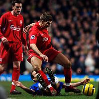 Photo: Daniel Hambury.<br />Chelsea v Liverpool. The Barclays Premiership. 05/02/2006.<br />Chelsea's Arjen Robben fouls Liverpool's Steven Gerrard.