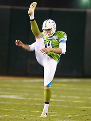 November 19, 2009; San Francisco, CA, USA;  California Redwoods punter Adam Graessle (4) during the first quarter against the Florida Tuskers at AT&T Park. Florida defeated California 34-27.