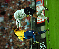 Photo: Tony Oudot.<br /> England v Brazil. International Friendly. 01/06/2007.<br /> Jamie Carragher of England pushes over Ronaldinho of Brazil
