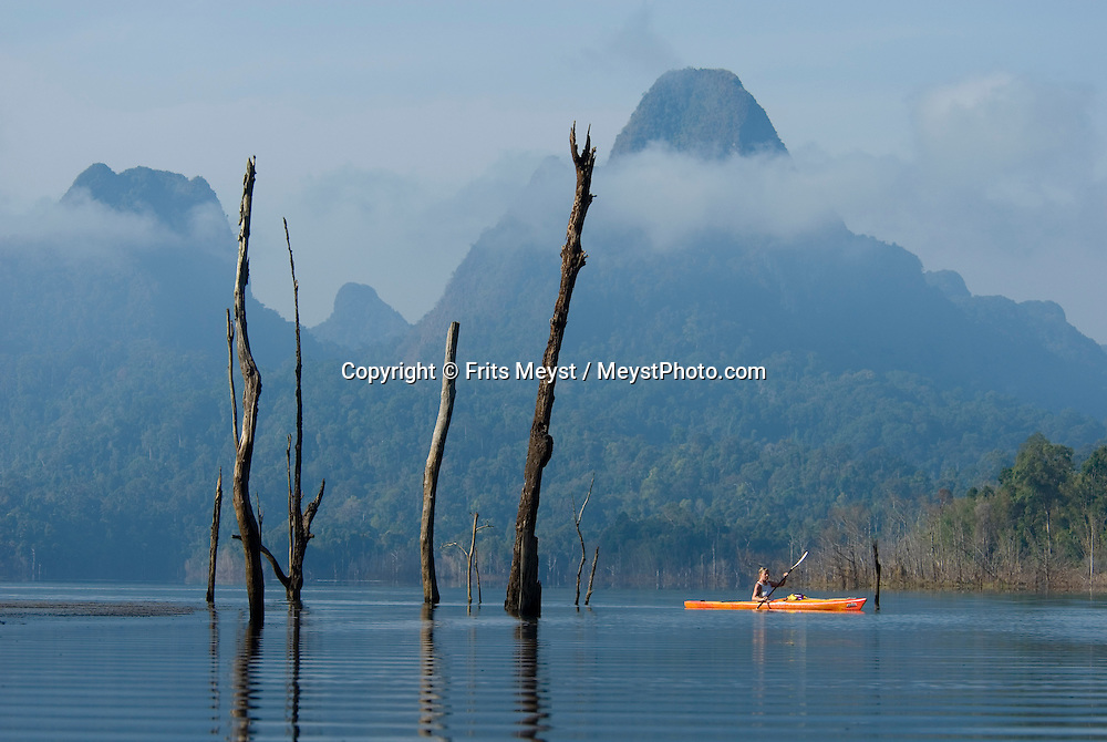 Khao Sok National Park, Surat Thani, Thailand, February 2007.   Travelling by kayak is the best way to reach the distant coves of Khao Sok National Park. Based from a primitive bamboo hut, one paddles to the trailhead of jungle treks, through the habitat of rare plants, birds and other wildlife. Photo by Frits Meyst/Adventure4ever.com