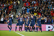 Adrien Rabiot (psg) scored a goal and celebrated it with Neymar da Silva Santos Junior - Neymar Jr (PSG), Angel Di Maria (psg), Edinson Roberto Paulo Cavani Gomez (psg) (El Matador) (El Botija) (Florestan), Thiago Silva (PSG), Thiago Motta Santon Olivares (psg), Presnel Kimpembe (PSG), Layvin Kurzawa (psg), Daniel Alves da Silva (PSG) during the French championship L1 football match between Paris Saint-Germain (PSG) and Toulouse Football Club, on August 20, 2017, at Parc des Princes, in Paris, France - Photo Stephane Allaman / ProSportsImages / DPPI