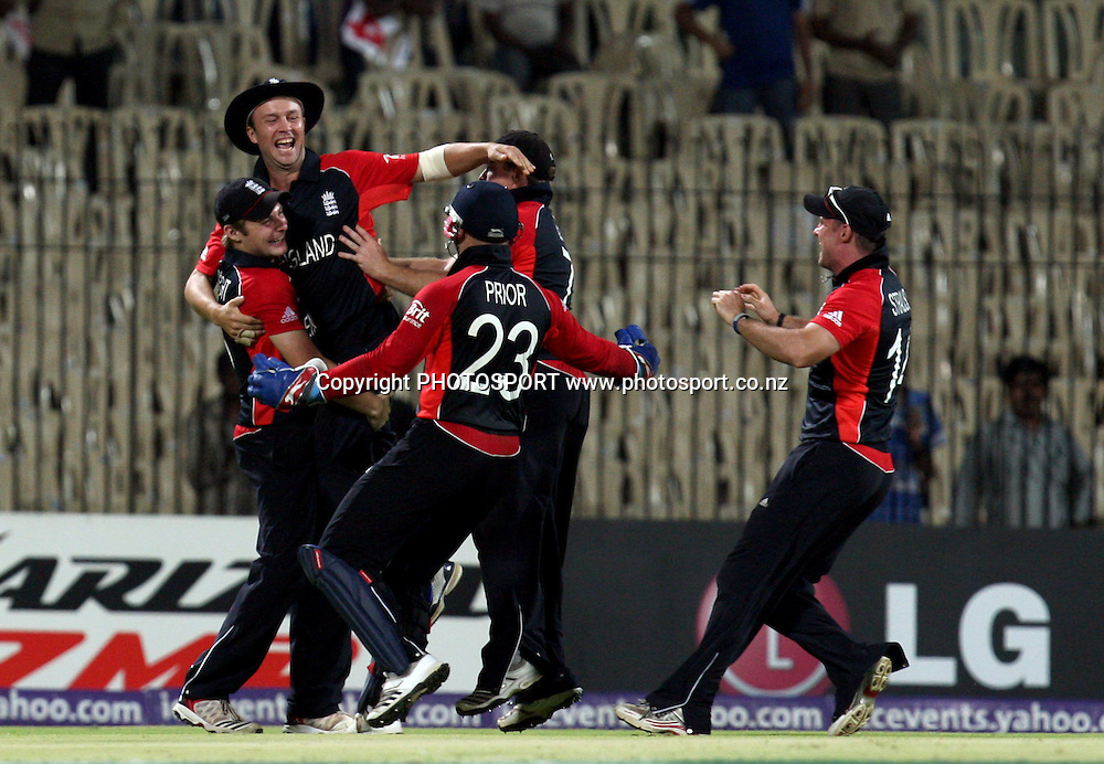 England players celebrates after won the match against West Indies during the ICC Cricket World Cup - 36th Match, Group B England vs West Indies Played at MA Chidambaram Stadium, Chepauk, Chennai (neutral venue) 17 March 2011 - day/night (50-over match)