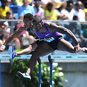 David Oliver, USA, winning the Men's 110m Hurdles during the Diamond League Adidas Grand Prix at Icahn Stadium, Randall's Island, Manhattan, New York, USA. 13th June 2015. Photo Tim Clayton