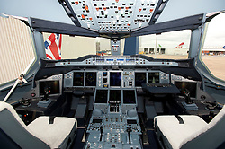 04/07/2013 . London, UK.  The cabin of a  British Airways Boeing A380 superjumbo which arrived at Heathrow Airport on July 4, 2013. It was the first time British Airlines have taken delivery of the new plane, making British Airways the first European airline to operate both the 787 and A380. Photo credit : Ben Cawthra/