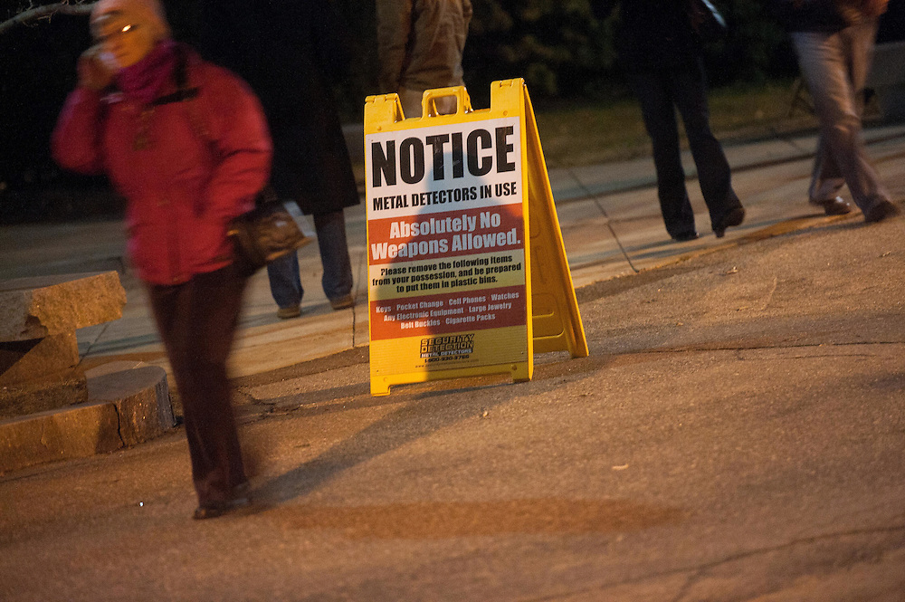 Jan. 7th, 2012 - Manchester, NH - St Anselm College - Absolutely no Weapons Allowed sign outside the entrance to tonight's ABC Republican Debate.