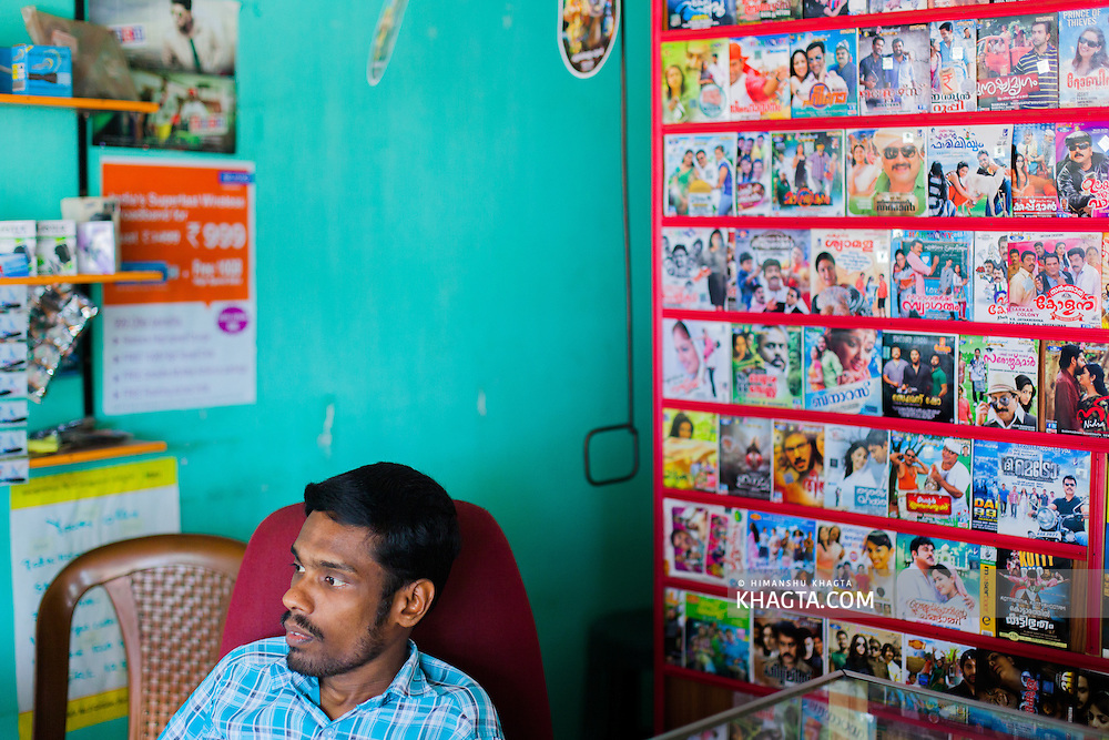 Inside a small music shop on the highway in Kerala