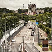 The bridge on Narva river is the border between Estonia and Russia, also border of European Union