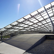 The Peregrine Winery roof at Peregrine Winery. Central Otago..Peregrine Wines is located in the Gibbston region of Central Otago – just an easy 20 minute drive from Queenstown, deep in the heart of the South Island of New Zealand, growing premium Pinot Noir and white varieties from their estate managed vineyards. 23rd March  2011, Photo Tim Clayton.