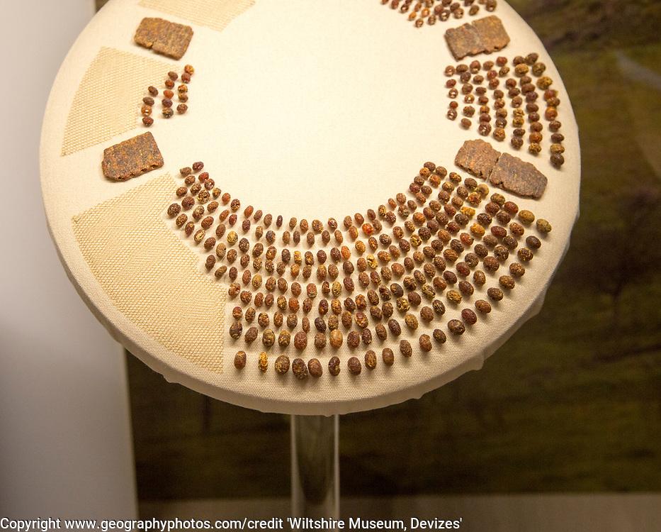 Amber necklace found near Stonehenge. With permission of Wiltshire Museum, Devizes, England, UK.