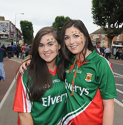 Mayo fans Emer Jordan and Lizzie O&rsquo;Brien from Crossmolina on their way to Croker for the final. <br /> Pic Conor McKeown