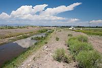 Irrigation canal near Torres, CO 3W, west of Monte Vista, Colorado.