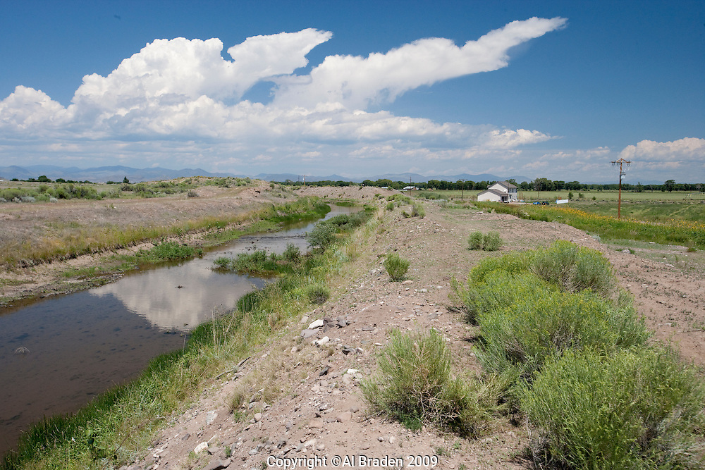 Irrigation canal near Torres, CO 3W, west of Monte Vista, Colorado.