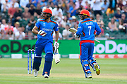 Rahmat Shah of Afghanistan and Mohammad Nabi of Afghanistan taking a couple of runs during the ICC Cricket World Cup 2019 match between Afghanistan and Australia at the Bristol County Ground, Bristol, United Kingdom on 1 June 2019.