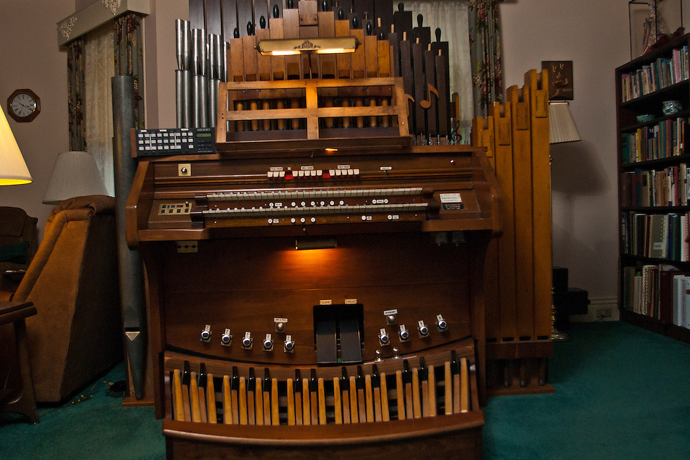 Lathan Goumas | The Bay City Times..The electro pneumatic pipe organ of Don Sandor in the living room of his home in Bay City, MI., on Thursday September 29, 2011.