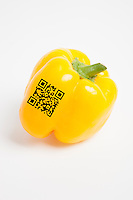 Close-up of yellow bell pepper with bar code over white background