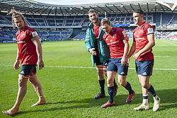 March 30, 2019 - Edinburgh, Scotland, United Kingdom - Munster players Arno Botha, Jean Klein, Tyler Bleyendaal and Conor Murray of Munster celebrate during the Heineken Champions Cup Quarter Final match between Edinburgh Rugby and Munster Rugby at Murrayfield Stadium in Edinburgh, Scotland, United Kingdom on March 30, 2019  (Credit Image: © Andrew Surma/NurPhoto via ZUMA Press)