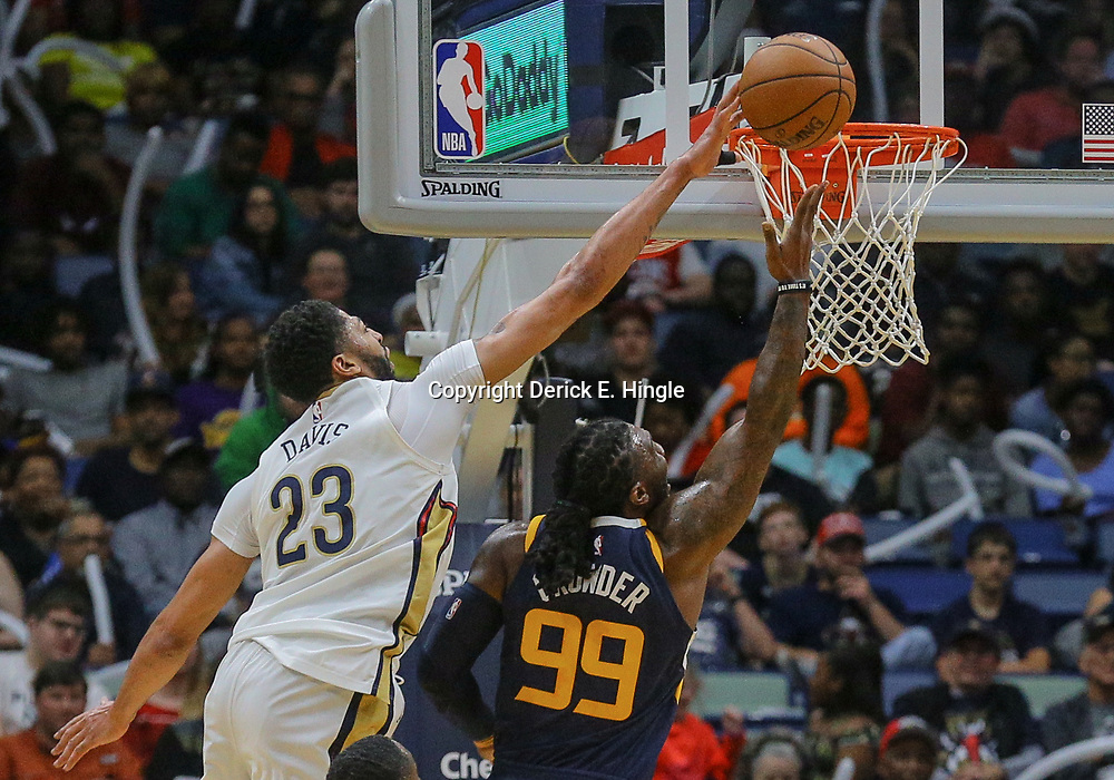 Mar 11, 2018; New Orleans, LA, USA; New Orleans Pelicans forward Anthony Davis (23) blocks a shot by Utah Jazz forward Jae Crowder (99) during the first half at the Smoothie King Center. Mandatory Credit: Derick E. Hingle-USA TODAY Sports