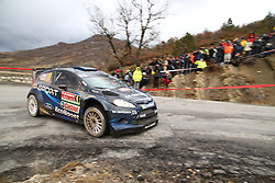 17.01.2014, Stage 10, Sisteron, FRA, FIA, WRC, Rallye Monte Carlo, 2. Tag, im Bild EVANS Elfyn / BARRITT Daniel ( M Sport Ltd (GBR) / Ford Fiesta RS ), Aktion / Action // during Stage 10 on day two of FIA Rallye Monte Carlo held near Monte Carlo, France on 2014/01/17. EXPA Pictures © 2014, PhotoCredit: EXPA/ Eibner-Pressefoto/ Neis<br /> <br /> *****ATTENTION - OUT of GER*****