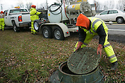 Jared Vobornik of Pipe-Eye Sewer works at a job site in Lockport, New York on Friday, December 4, 2015. Pipe-Eye is based in Bradford, Pennsylvania.