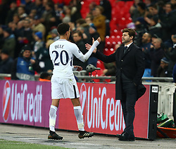 December 6, 2017 - London, England, United Kingdom - Tottenham Hotspur's Dele Alli shanks hands with Tottenham Hotspur manager Mauricio Pochettino ..during the Champions  League Group G  match between Tottenham Hotspur and Apoel Nicosia at Wembley stadium , London, England on 6 Dec 2017. (Credit Image: © Kieran Galvin/NurPhoto via ZUMA Press)