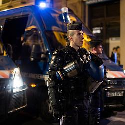 Maintien de l'ordre de la manifestation organisée à Lyon dans le cadre de l'acte 14 des manifestations de gilets jaunes le 16 février 2019. Suivi du dispositif de sécurisation constitué des gendarmes mobiles de l'Escadron 11/5 de Sathonay-Camp.<br /> Février 2019 / Lyon (69) / FRANCE Voir le reportage complet (90 photos) https://sandrachenugodefroy.photoshelter.com/gallery/2019-02-MO-Gilets-Jaunes-Lyon-Acte-14-Complet/G0000I._DRehEUTM/C0000yuz5WpdBLSQ