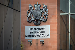 "© Licensed to London News Pictures . 18/03/2015 . Manchester , UK . GV of Manchester and Salford Magistrates' Court . Liam Gary Edwards appears at Manchester and Salford Magistrates Court today (18th March 2015) charged with Causing Racially or Religiously Aggravated Criminal Damage . On 18th February 2015 , stickers reading "" Beware! Halal is barbaric and funds terrorism "" were discovered on products and displays in Sainsbury's supermarket , on Regent Road in Salford . Photo credit : Joel Goodman/LNP"