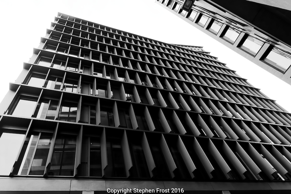 An abstract pattern made from modern high rise buildings. Photographed in London, England.