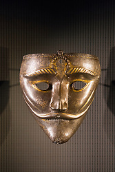 War Mask from Eastern Turkey or Western Iran on display at Museum of Islamic Art in Doha Qatar