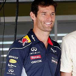 FORMULA 1 SANTANDER BRITISH GRAND PRIX ...Mark Webber in the Red Bull garage....(c) STEPHEN LAWSON | SportPix.org.uk